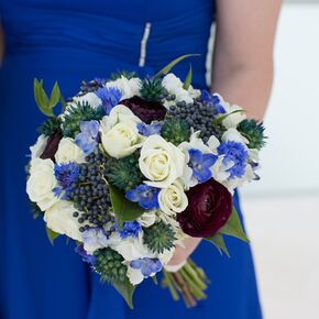 Wedding bouquets dramatic blue plum and ivory bridesmaid bouquet junglespirit Image collections
