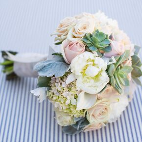 peony hydrangea and rose pastel colored bouquet - Garden Rose And Hydrangea Bouquet