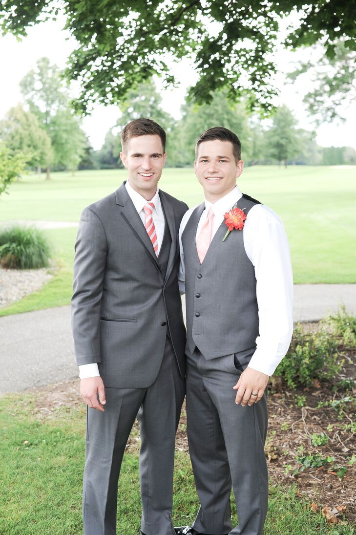 Groom and Best Man in Gray Suit and Attire