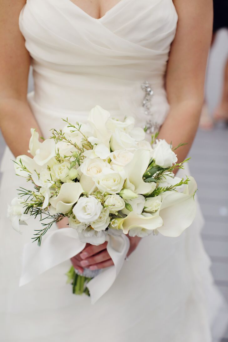 Classic White Rose And Calla Lily Bouquet