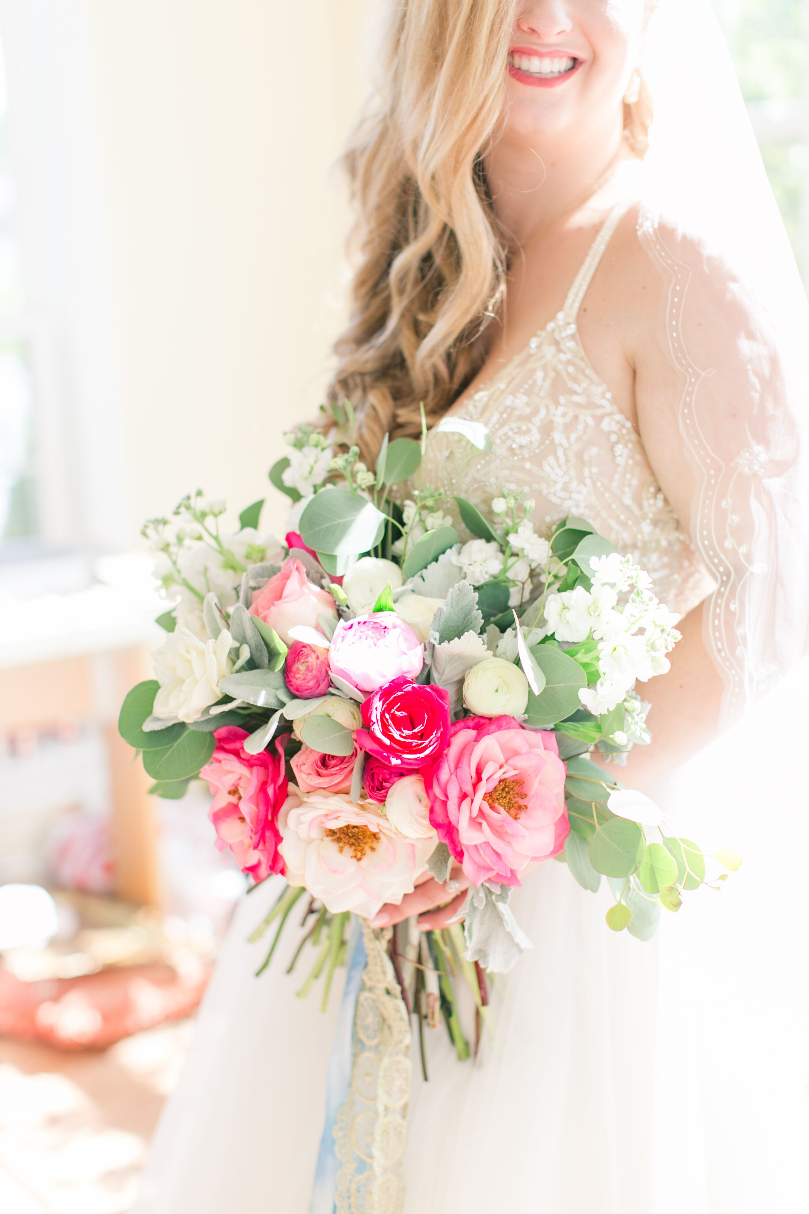 Glamorous Bouquet With Pink And White Garden Roses Peonies And Ranunculus