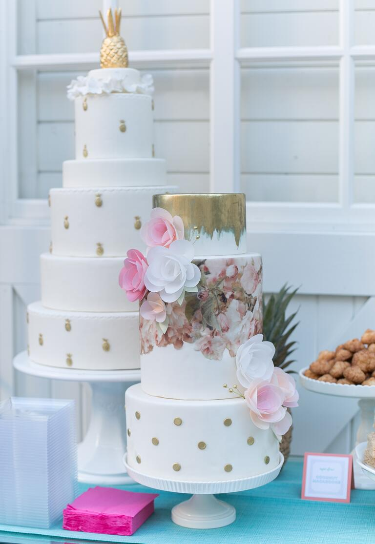 White gold and floral wedding cakes