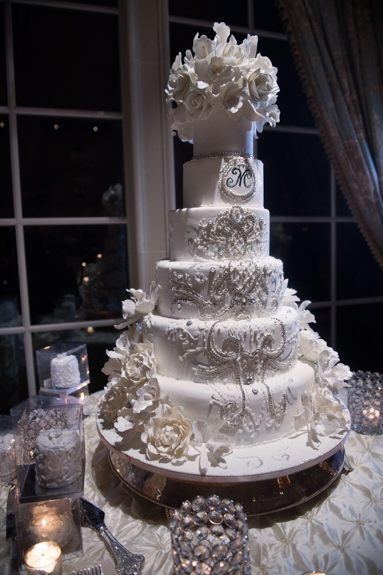 Extravagant Six Tier Ivory Wedding Cake