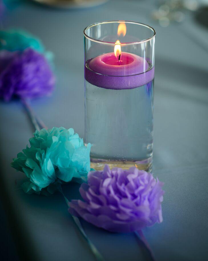 Purple Floating Candle Pom Pom Wedding Centerpieces