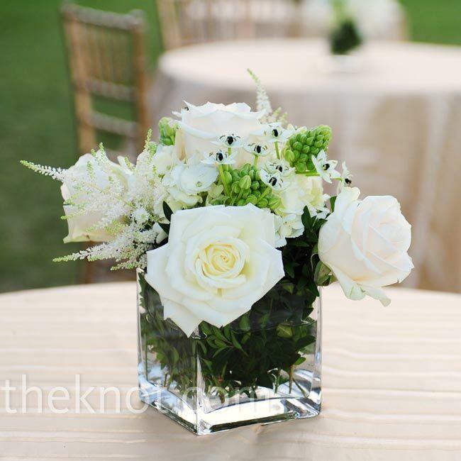 Flower Arrangements For 50th Wedding Anniversary: White Rose Centerpieces