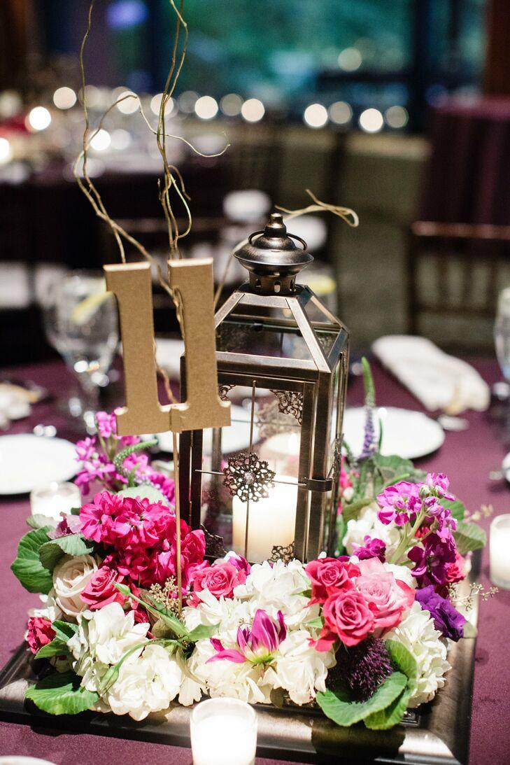 White Lantern Centerpiece : Pink and white lantern centerpieces