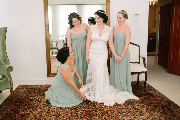 Lace Wedding Gown and Green Bridesmaid Dresses