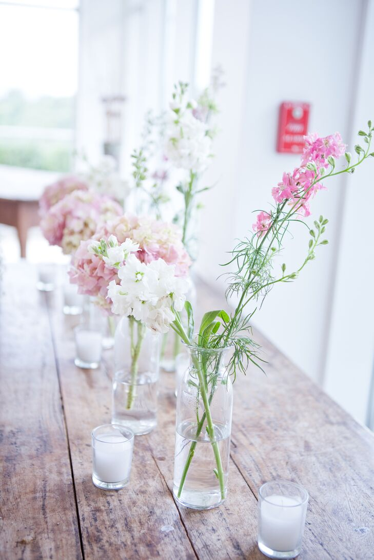 Simple Delphinium Centerpieces in Bulb Vases