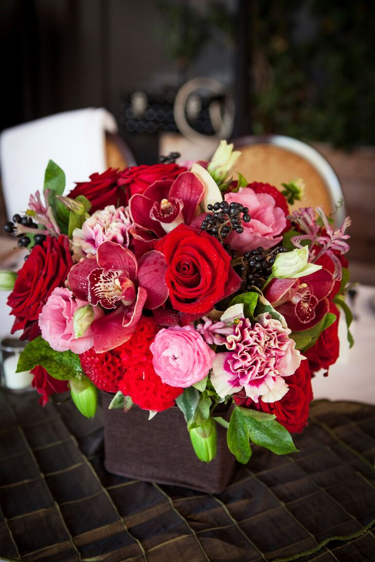 Low red and pink centerpieces