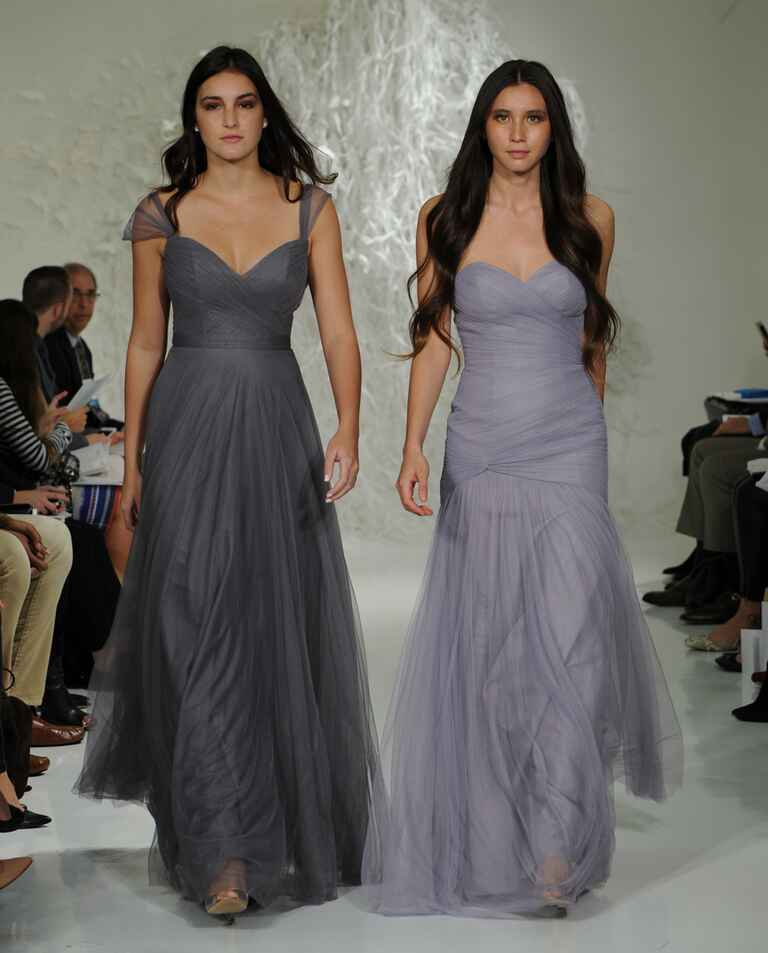 Watters Fall 2016 purple-gray ruched floor-length tulle bridesmaid dresses