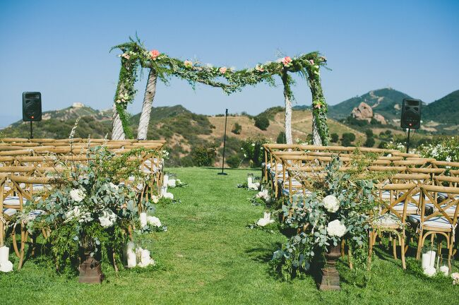The Ceremony Was Held At Saddlerock Ranchs Chateau Le Dome Site Overlooking The Rolling Hills