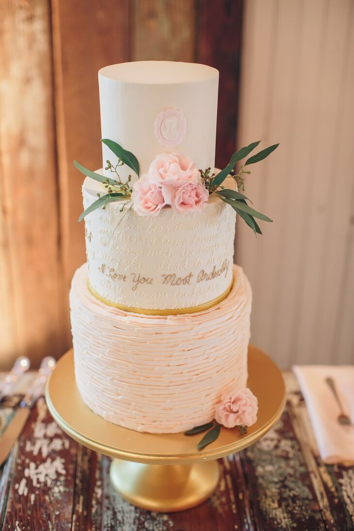 Three Tier Cake with Calligraphy Detail and Ruffles