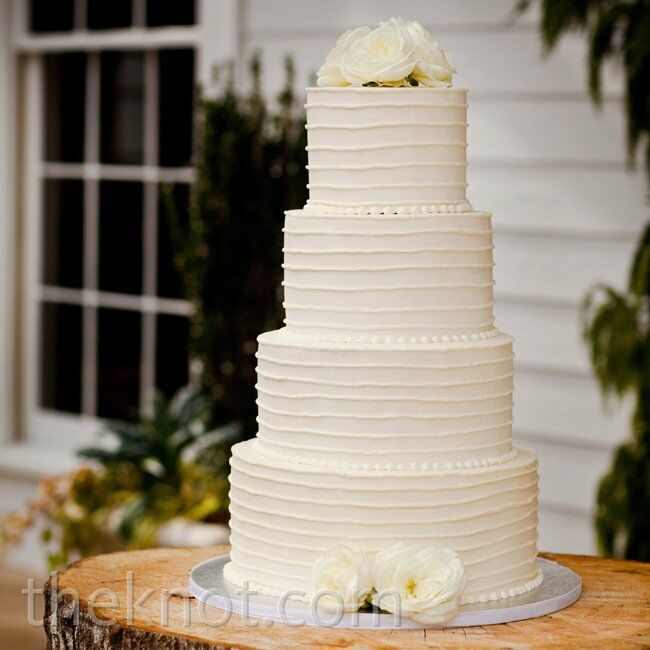 Simple White Buttercream Wedding Cakes