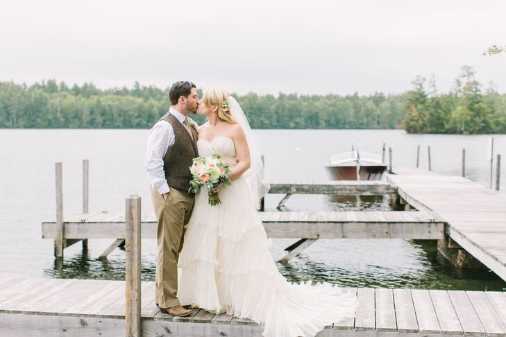 """My family has been vacationing on Squam Lake for almost 30 years. It's safe to say that I had always dreamed of being married there,"" says Alissa. ""Greg grew up spending summers in southern Maine enjoying life on the ocean, so we knew that a wedding and reception on the water would be something really special for both of us."""
