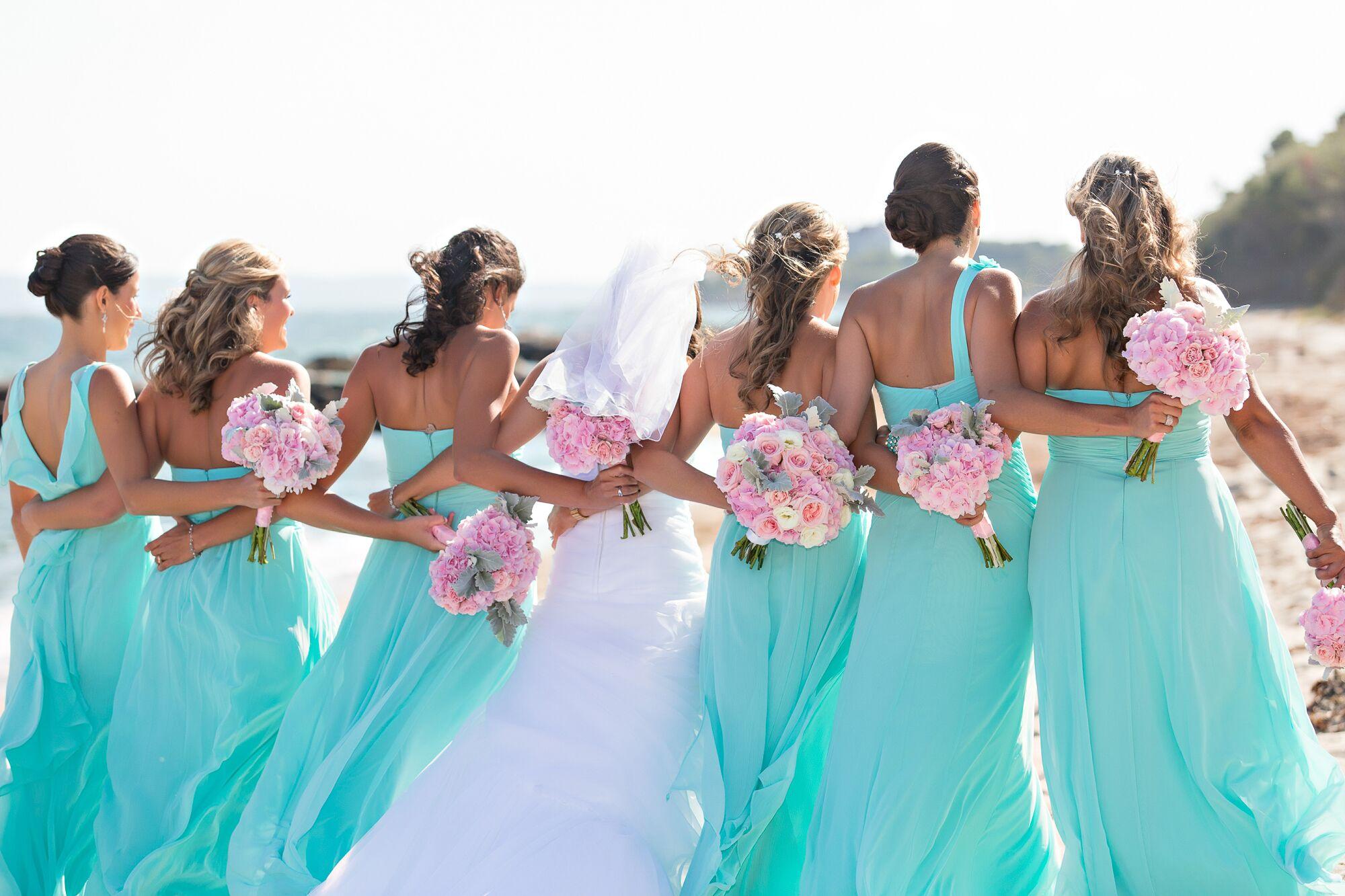 Aqua Bridesmaid Dresses with Pink Bouquets