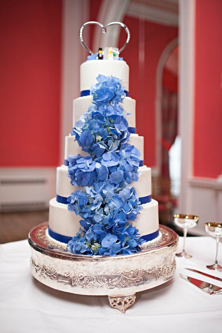 Tall White Cake with Blue Hydrangeas