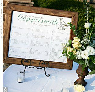 Since the cocktail hour was outdoors, Sarah worried that the escort cards would blow away. They listed seating assignments on a chart instead. Bonus: It was more eco-friendly!