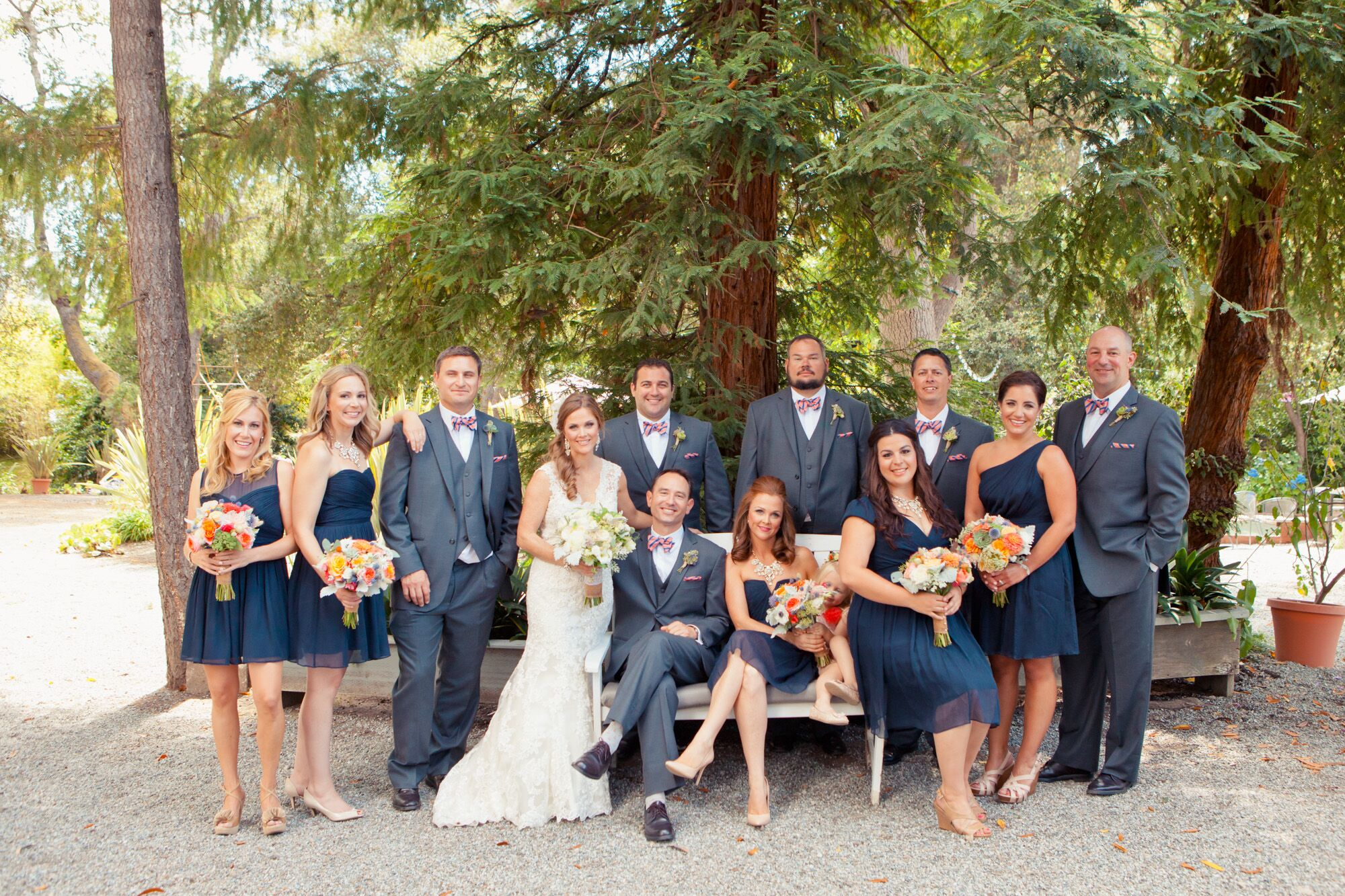 Navy Blue and Gray Wedding Attire