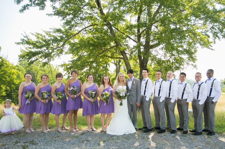 Jaime wanted a soft look for the wedding party. The bridesmaids wore lavender dresses, while the groomsmen wore gray pants and white shirts.
