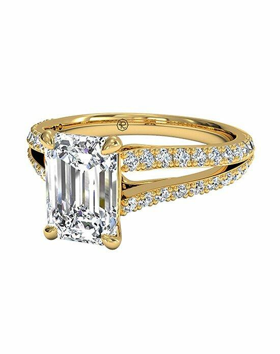 Ritani Emerald Cut Double French-Set Diamond 'V' Engagement Ring with Surprise Diamonds in 18kt Yellow Gold (0.24 CTW) Engagement Ring photo