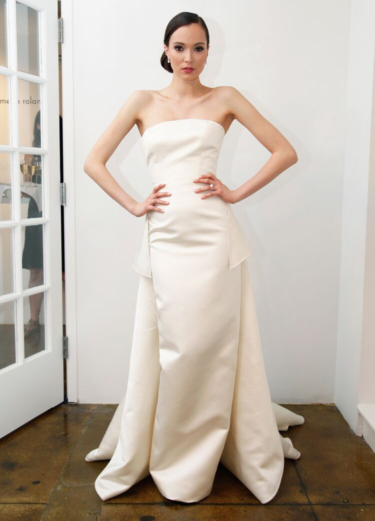 Pamella Roland Strapless Ivory Wedding Dress With Sharp Angles From Spring 2016