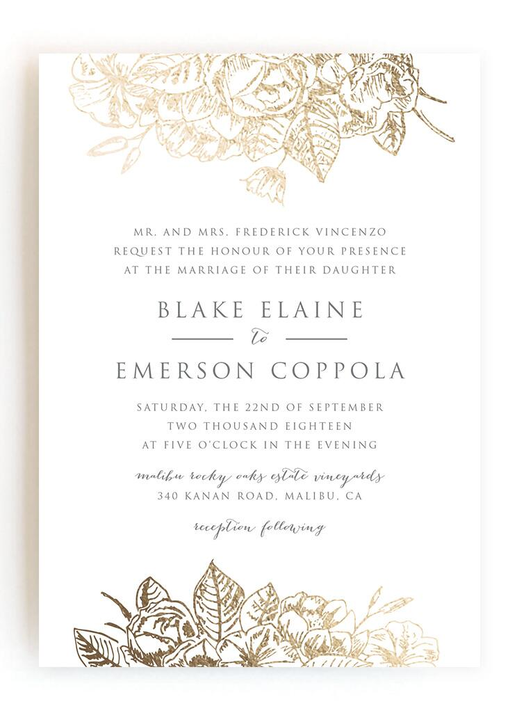 Wedding invitations wedding stationery gilded wildflowers stopboris Image collections