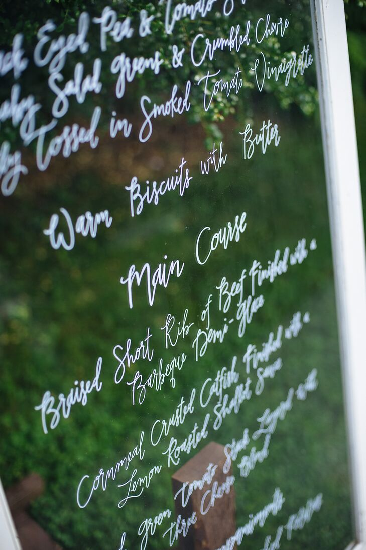 Menu Written on Window Glass