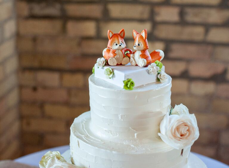 Hand Carved Fox Wedding Cake Topper
