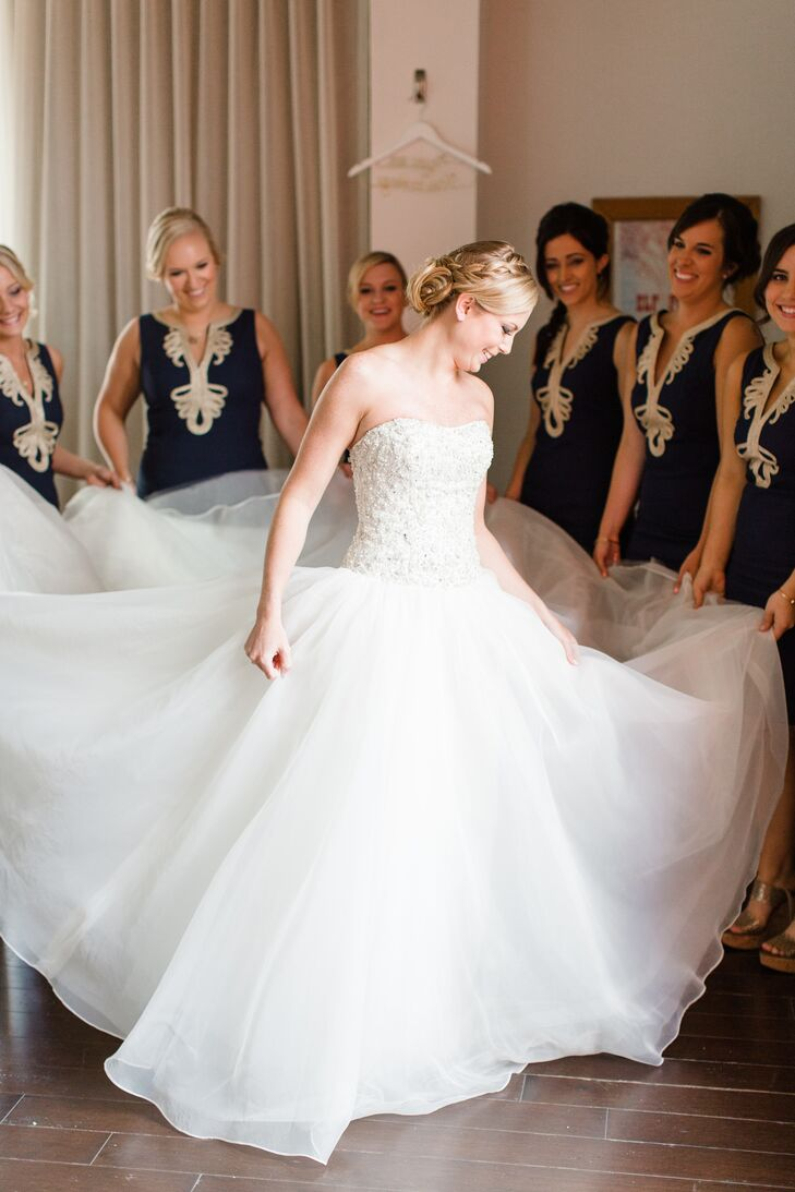 Beaded Bodice Organza Skirt Ball Gown