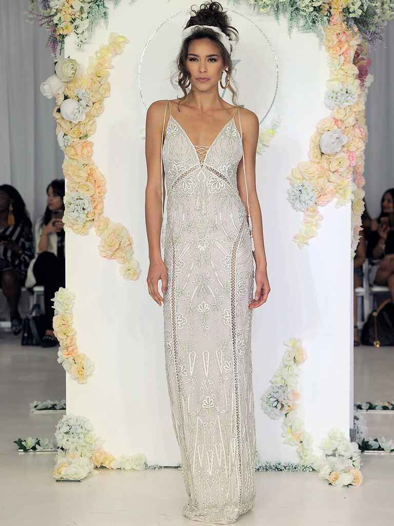 Julie Vino Fall 2018 wedding dress with lace-up bodice and tassels