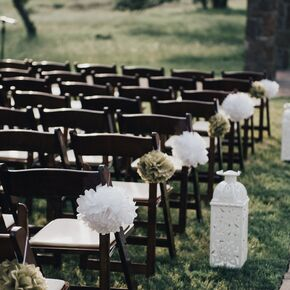 Diy wedding aisle decorations tissue paper pompom and lantern ceremony decoration junglespirit Choice Image