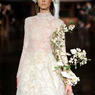Reem Acra Spring 2019 lace wedding dress with high neckline