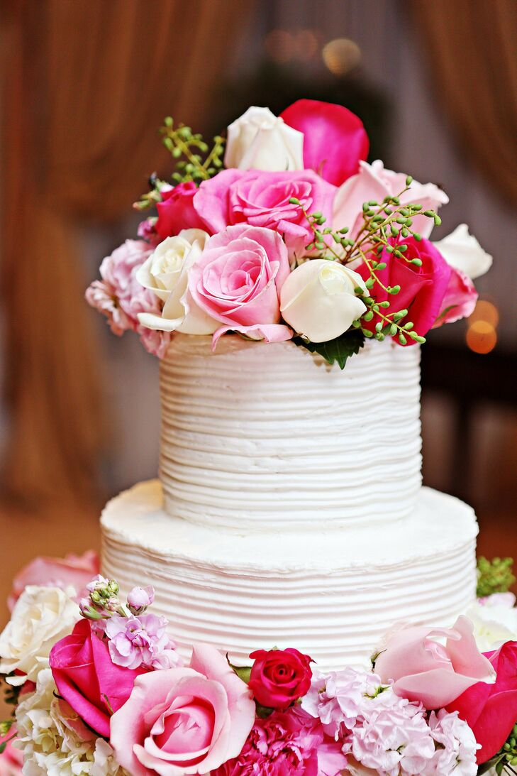 Pink and White Rose Cake Topper