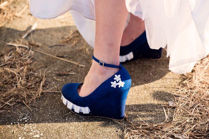 DIY Royal Blue Wedge Wedding Shoes