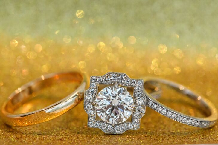 Engagement Ring with Wedding Rings