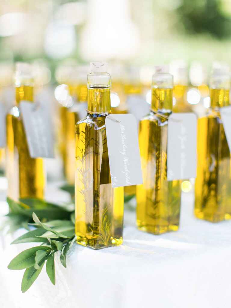 Unique olive oil wedding favor idea