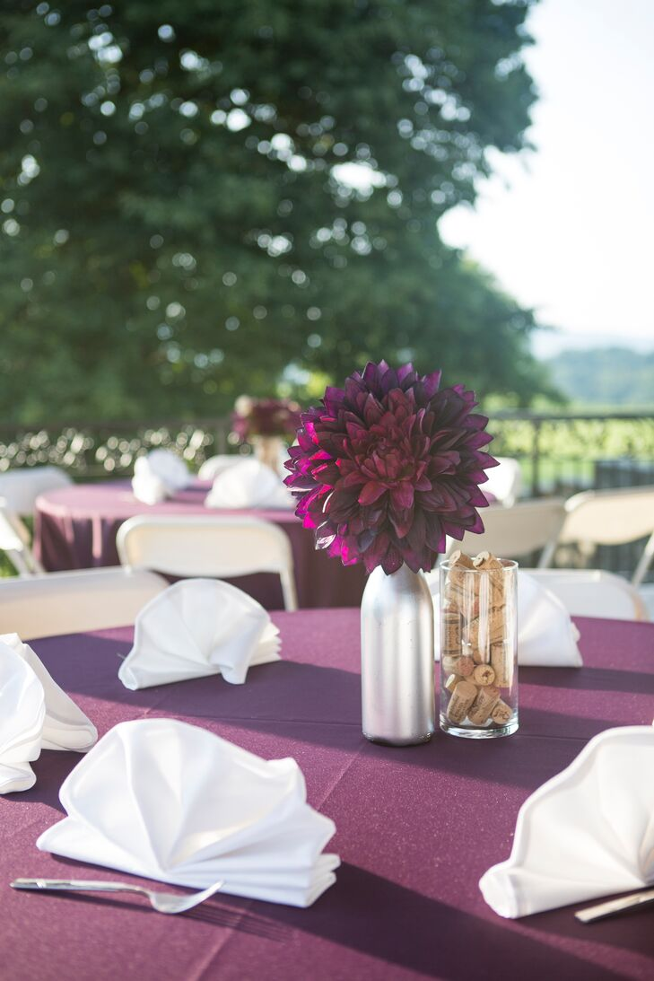 Purple And White Wedding Reception With Diy Silver Accents
