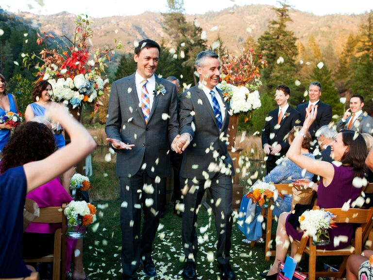 Petal toss exit at same-sex wedding ceremony