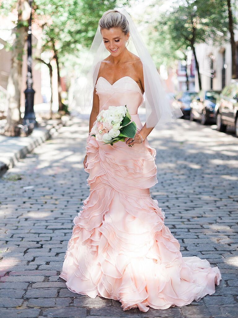 Good Light Pink Fit And Flare Wedding Gown By Leanne Marshall Design Inspirations