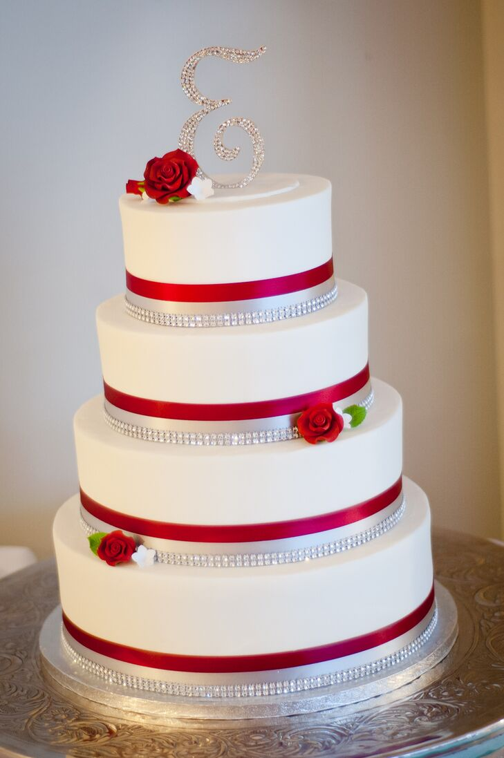 Red, Silver and White Wedding Cake