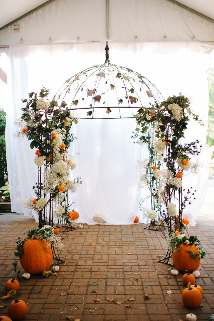 Burnt Orange and White Ceremony Arch