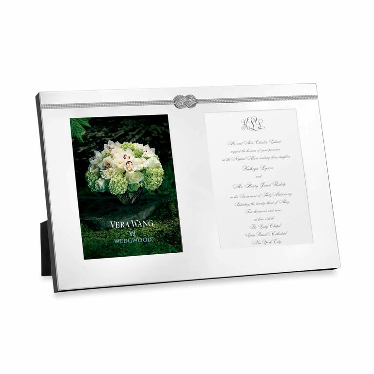 Silver double invitation picture frame with nautical infinity knot