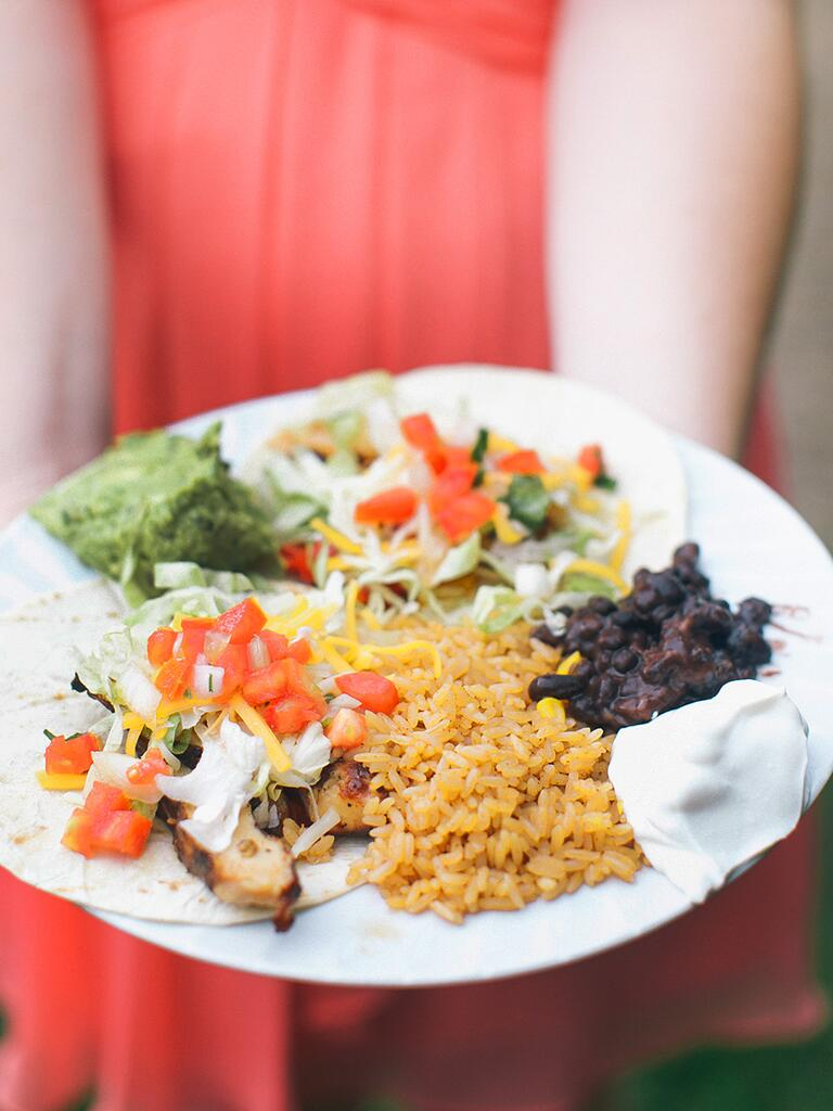 Mexican-inspired dinner idea for a wedding reception entree