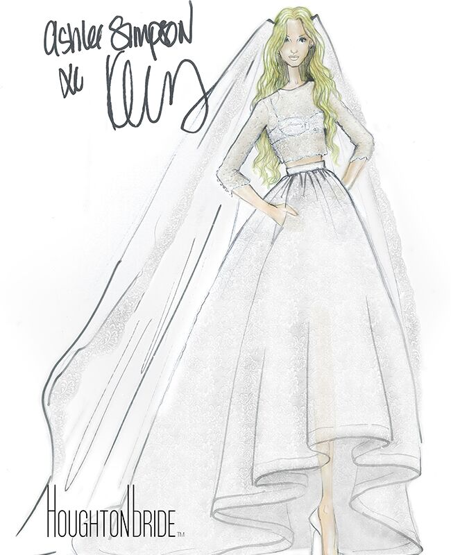Ashlee simpson wore a crop top wedding dress at her bohemian ceremony ashlee simpson wedding dress sketch junglespirit Choice Image