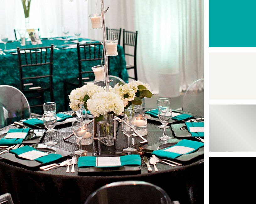 Teal White Silver And Black Color Palette