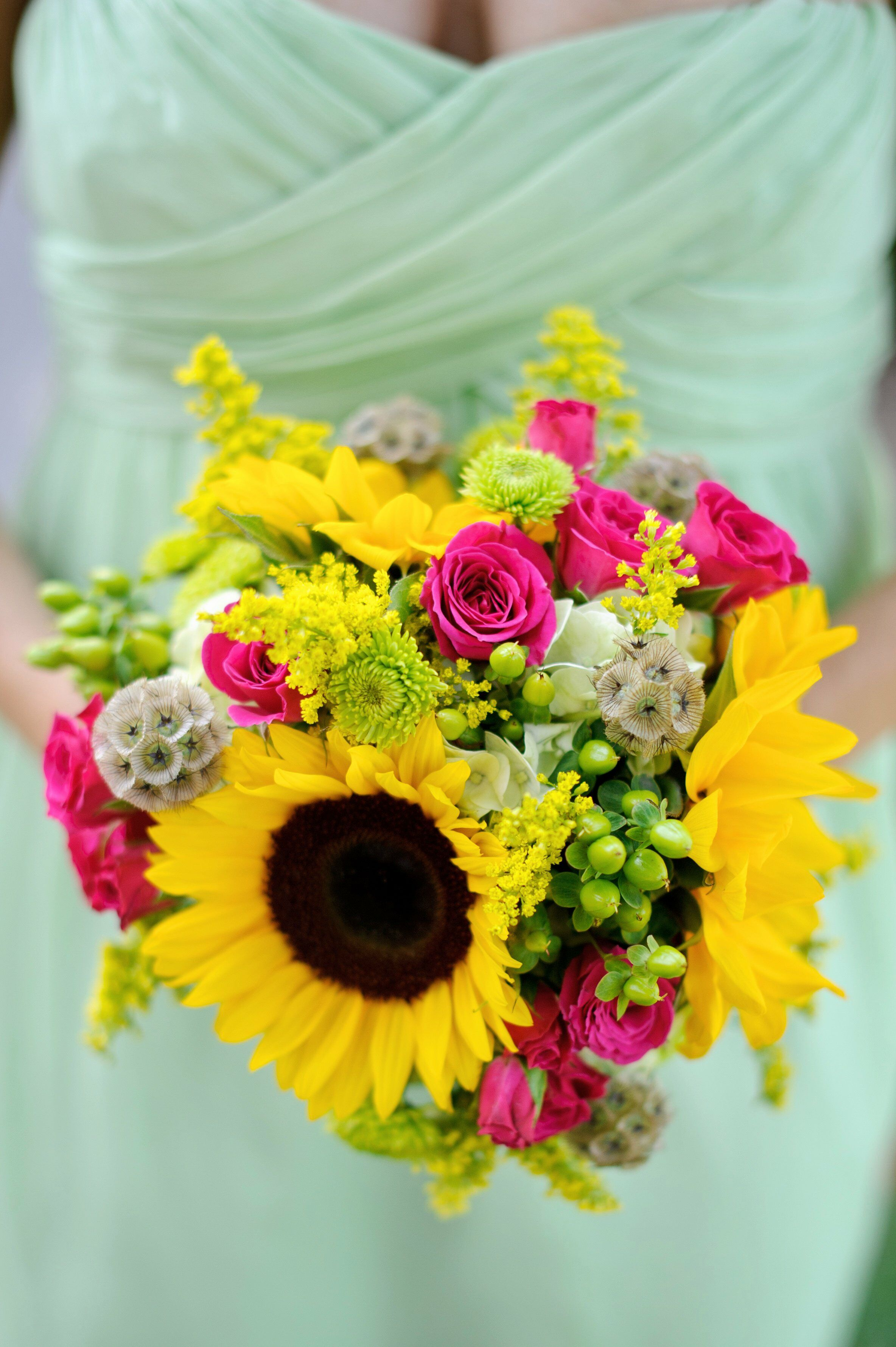 Sunflower And Pink Rose Bouquet Sunflower and P...