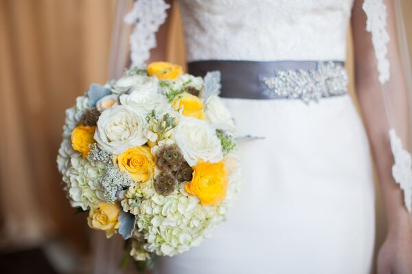 Yellow and White Rose and Hydrangea Bouquet