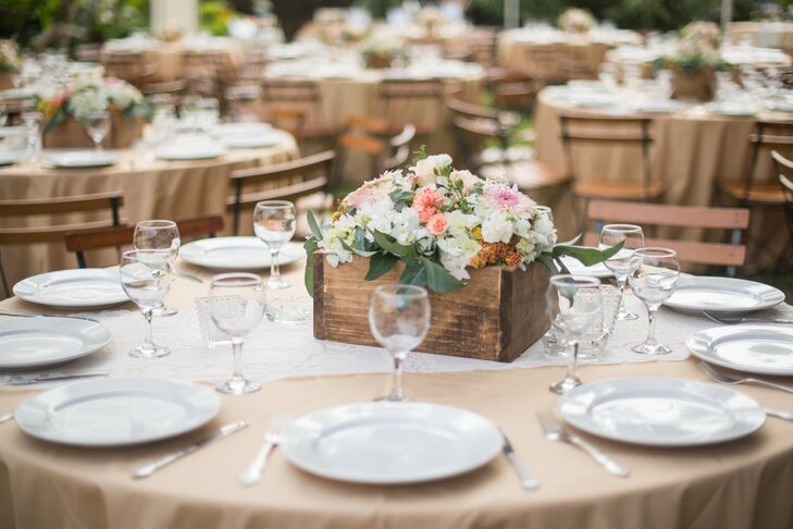 Rustic Wooden Planter Box Centerpieces