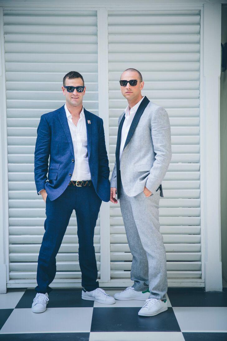 Modern Blue Linen Best Man\'s Suit