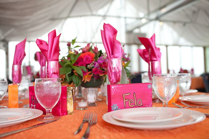 DIY Pink and Orange Wood Place Cards